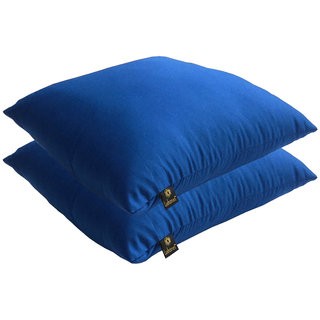 Lushomes Bright and Fluffy Cobalt Blue Cushions (Size 16x16, 2 pcs.)