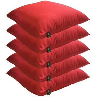 Lushomes Bright and Fluffy Red Cushions (Size 16x16, 5 pcs.)