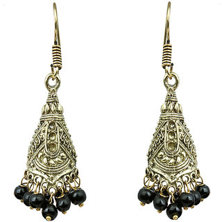 Waama Jewels Black pearl Jhumki Earring Daily Wear Golden Oxidised Special Collection Fashion Earring gifts for her