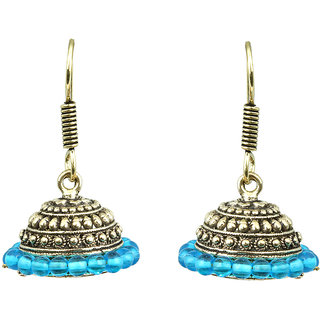 Waama Jewels Navy blue Pearl Jhumki Daily Wear Earring for women Oxidised jewellery