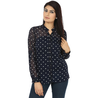 Coash nevy blue Polka dot chiffon women shirt