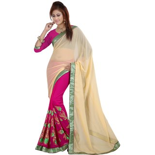 Neeta Pink Embroidered Georgette fashion saree with blouse piece