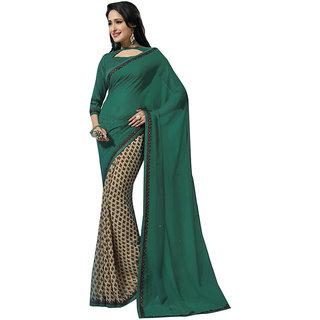 Subhash Daily Wear Dark Green and Cream Color Georgette Saree/Sari