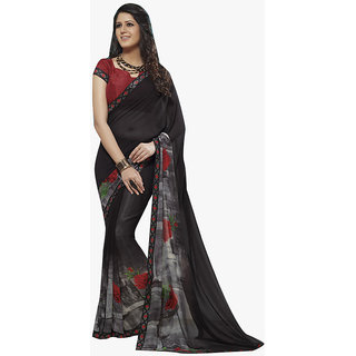 Subhash Daily Wear Black Color Georgette Saree/Sari