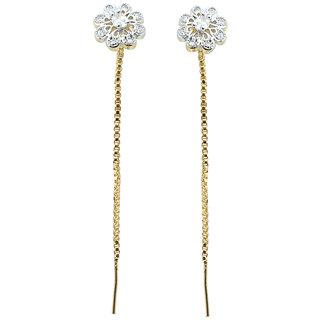 Waama Jewels White Diamond Dangle  Drop Earring for womens Daily Wear Earring Gift For Girlfriend