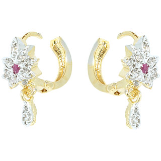 Waama Jewels Multi Cubic Zirconia Bali Earring for women and girl Festive Earring Gift For Wife