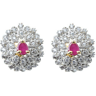 Waama Jewels Multi Cubic Zirconia Studs Earring for women and girl Festive Earring Gift For Wife