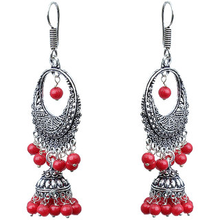 Waama Jewels red pearl Dangle and Drops Earring For Women Daily Wear Earring gifts for her