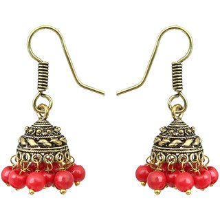 Waama Jewels REd pearl Jhumki Earring For Girls Festive Earring colored zircon