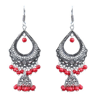 Waama Jewels red pearl Dangle and Drops Earring For Girls Festive Earring Gift For Wife