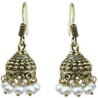 Waama Jewels White Pearl Jhumki Earring Festive Golden Oxidised Special Collection Fashion Earring Mothers Day Gift