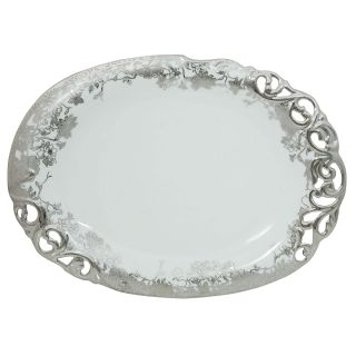 Addox Elegant Floral White serving plate with silver polish