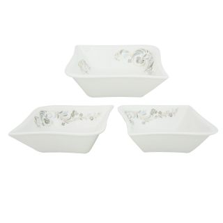 Addox Set of Three floral white serving bowls in white