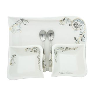 Addox Set of bowls serving plate spoon in white and silver
