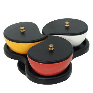 K.S Multicolour set of Bone China serving set with caps