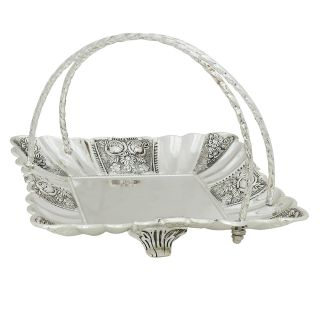 K.S Royal serving tray in silver with carrying wires