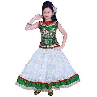 Sarrah Girls White & Green Lehenga Choli (Size: 26)