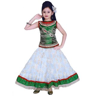 Sarrah Girls White & Green Lehenga Choli (Size: 30)