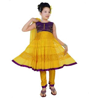 Sarrah Girls Purple & Yellow Churidar Set (Size: 26)