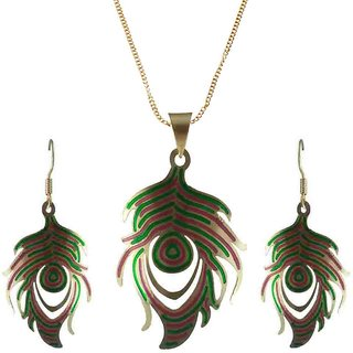 Rejewel 22K Gold Plated Delicate Filigiri Metal Pendant RedGreen Color For Women