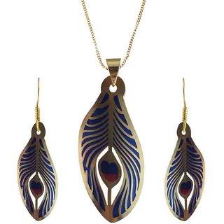 Rejewel 22K Gold Plated Delicate Filigiri Metal Pendant Blue Color For Women