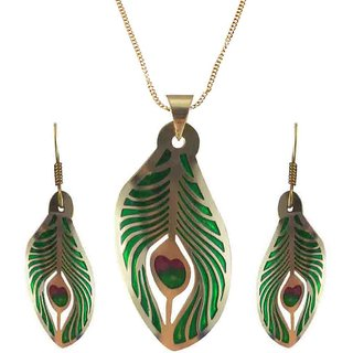 Rejewel 22K Gold Plated Delicate Filigiri Metal Pendant GreenRed Color For Women