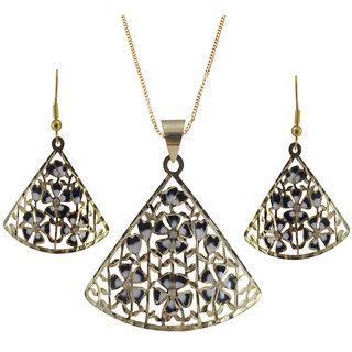 Rejewel 22K Gold Plated Delicate Filigiri Metal Pendant Black Color For Women