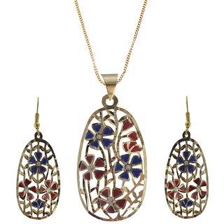 Rejewel 22K Gold Plated Delicate Filigiri Metal Pendant RedBlue Color For Women