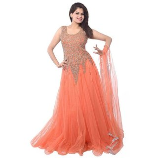 Wizua Enterprise Women Georgette Unstiched Orange Dress Material