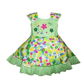Brisa Floral Printed and Embroidered Fit and Flare Green Cotton Frock with Cap Sleeves