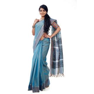 Zarivastram Blue Cotton Self Design Saree With Blouse