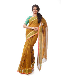 ZariVastram Womens Kotta Cotton Saree in Texas Orange