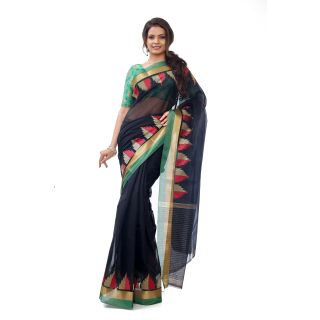 ZariVastram Womens Kotta Cotton Saree in Black