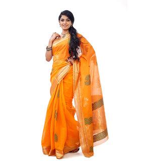 Zarivastram Orange Cotton Self Design Saree With Blouse