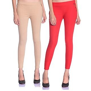 SNP Beige  Red Cotton Womens Jegging Pack of 2