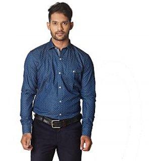 Indigo Print Three Dots Navy Blue  Uomo Ricco Mens Shirting  M