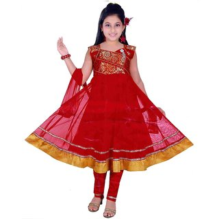 Sarrah Girls Red Churidar Set (Size: 22)