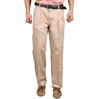 Studio Nexx cream formal cotton Mens trouser