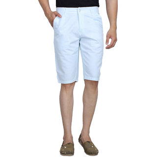 Studio Nexx Mens Solid Cotton basic shorts (Ice Blue, Size - 30)