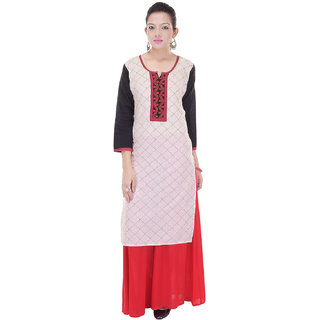 Artisan Creation Beautiful Cotton Printed CreamRed Kurti With Plazoo