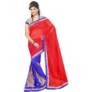 Neeta Blue Embroidered Georgette fashion saree with blouse piece