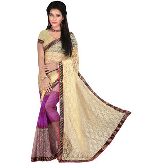 Neeta Purple Embroidered Net fashion saree with blouse piece