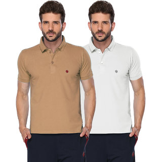 ONN Camel  White Polo Neck Half Sleeve Mens T-shirt