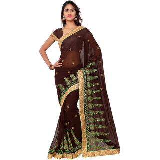 Neeta Brown Embroidered Georgette fashion saree with blouse piece