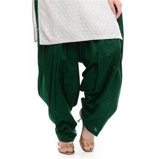 Sheryl Trendz Dark Green Color Cotton Salwar Semi Patiyala