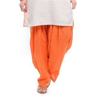 Sheryl Trendz Orange Color Cotton Salwar Semi Patiyala