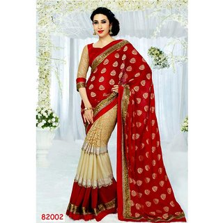 Neeta Red Embroidered Net fashion saree with blouse piece
