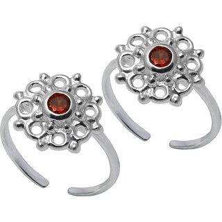 Abhooshan Floral Cubic Zirconia Toe Rings in 92.5 Sterling Silver