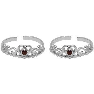 Abhooshan Beautiful Cubic Zirconia Toe Rings in 92.5 Sterling Silver