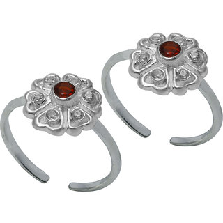 Abhooshan Beautiful pair of Cubic Zirconia Toe Rings in 92.5 Sterling Silver